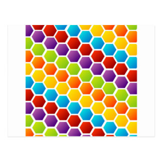 Background with colorful hexagon postcard