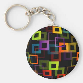 Background with colorful squares basic round button key ring