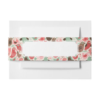 background with cute birds invitation belly band