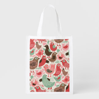 background with cute birds reusable grocery bag