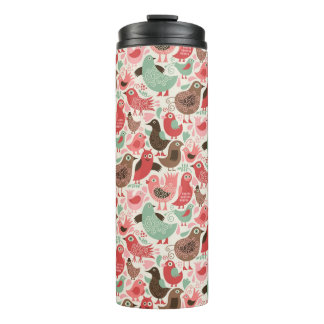 background with cute birds thermal tumbler