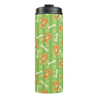 background with dogs and bones thermal tumbler