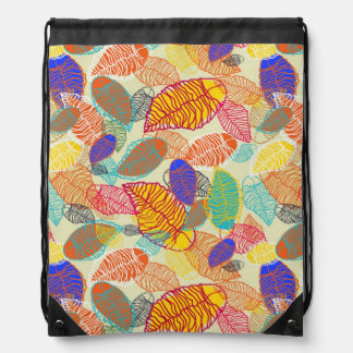 Background With Leaves 2 Drawstring Bag