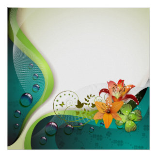 Background with lilies, clover and drops of water print