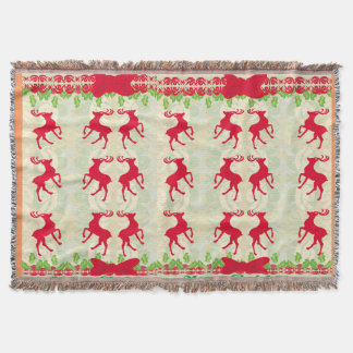 background with reindeers Throw Blanket