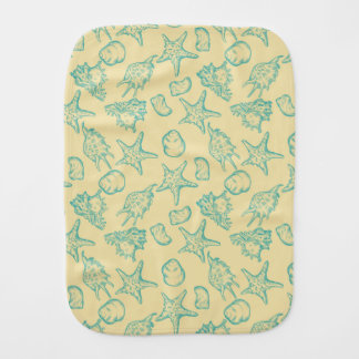 Background with shells. Hand drawn 2 Burp Cloth