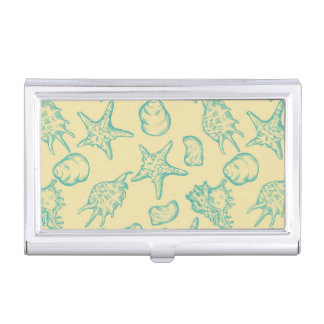 Background with shells. Hand drawn 2 Business Card Holder