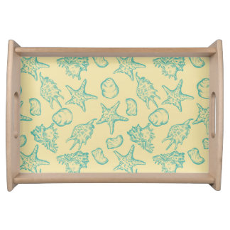 Background with shells. Hand drawn 2 Serving Tray