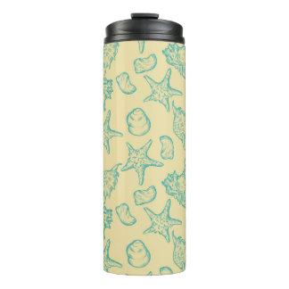 Background with shells. Hand drawn 2 Thermal Tumbler