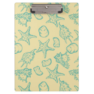 Background with shells. Hand drawn Clipboard