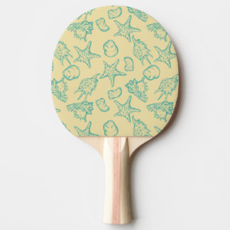Background with shells. Hand drawn Ping Pong Paddle