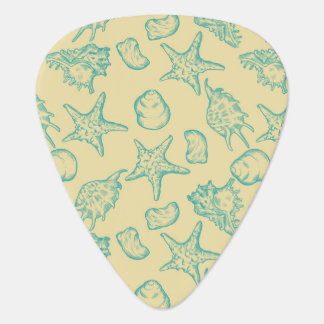 Background with shells. Hand drawn Plectrum