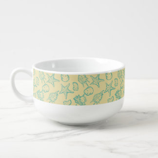 Background with shells. Hand drawn Soup Mug