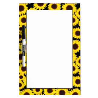 Background with sunflowers dry erase board