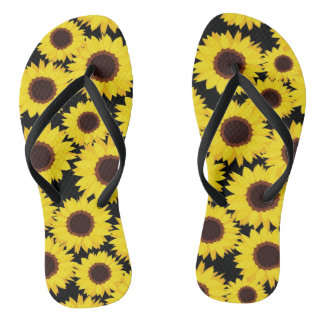 Background with sunflowers flip flops
