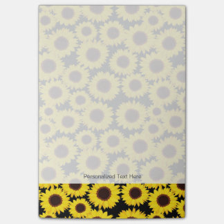 Background with sunflowers post-it notes