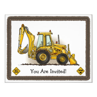 Backhoe Digger Construction Kids Party Invitation