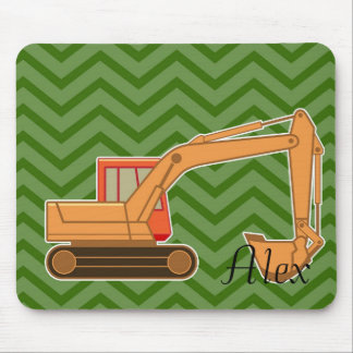Backhoe on zigzag chevron - Green. Mouse Pad