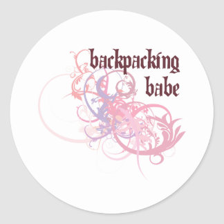 Backpacking Babe Round Stickers