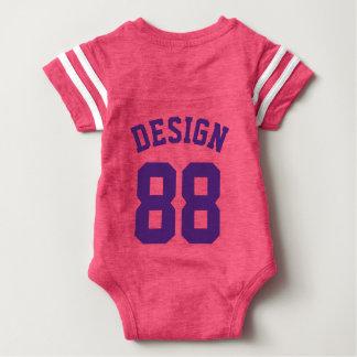 Backside Pink & Dark Purple Baby   Sports Jersey Baby Bodysuit