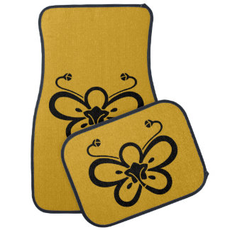 Backside-view shadowed butterfly-shaped ume car mat