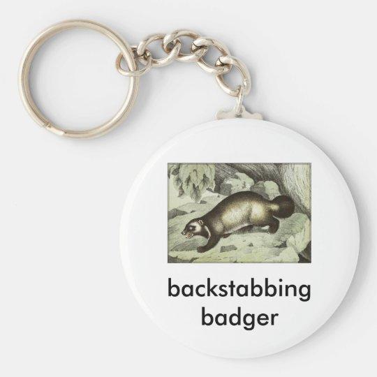 backstabbing badger basic round button key ring