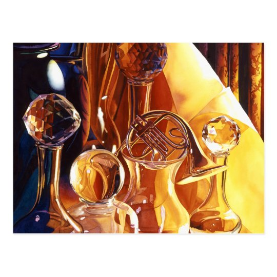 """Backstage"" Musical Instruments & Glass Art Postcard"