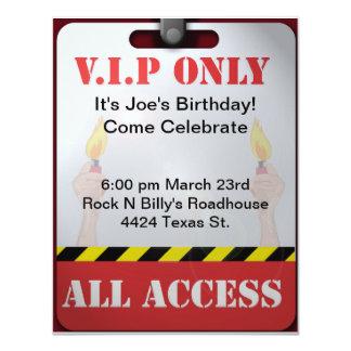 Backstage Pass Party 11 Cm X 14 Cm Invitation Card