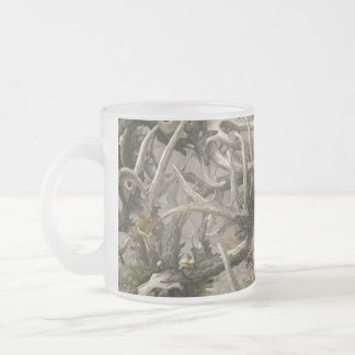Backwoods deer skull camo frosted glass mug