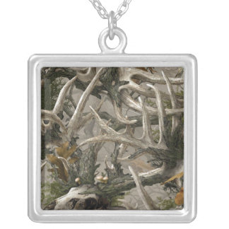 Backwoods deer skull camo silver plated necklace