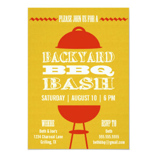 Backyard BBQ Barbecue Bash | Party Invitation 5x7