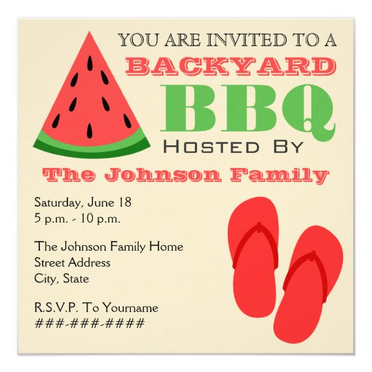 Backyard BBQ Watermelon & Flip Flops Invitation