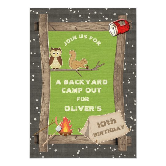 Backyard Camp Out Birthday Party Card