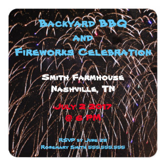 Backyard Fireworks Card