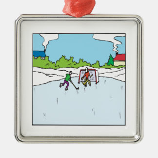 Backyard Hockey Christmas Ornament