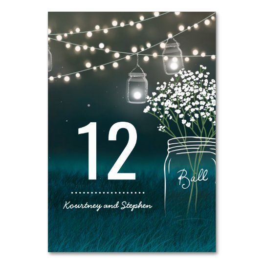 Backyard Mason Jar Baby Breath Table Number