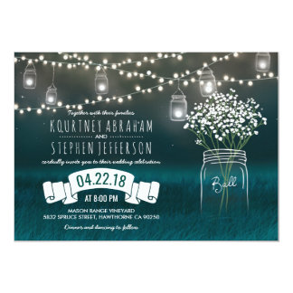 Backyard Mason Jar Baby Breath Wedding | Lights 13 Cm X 18 Cm Invitation Card