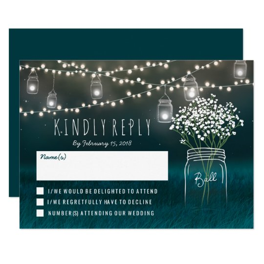 Backyard Mason Jar Baby Breath Wedding RSVP Card
