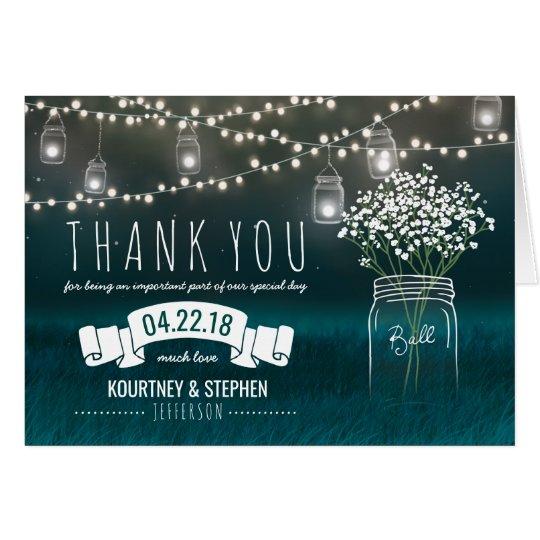 Backyard Mason Jar Baby Breath Wedding Thank You
