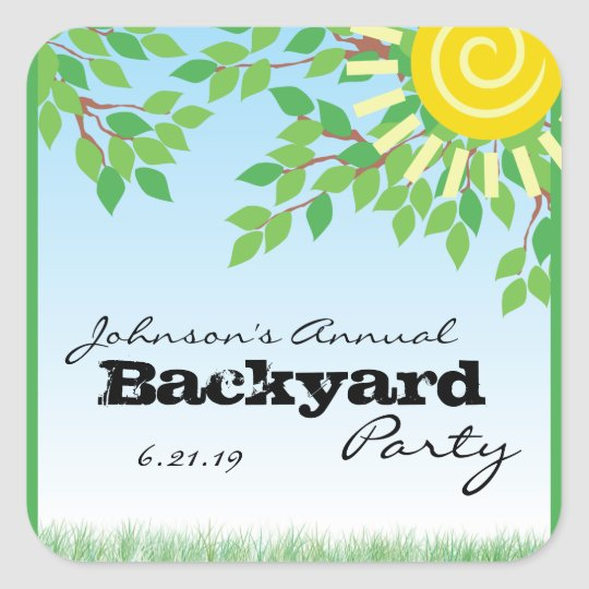 Backyard Party with Trees & Grass Personalised Square