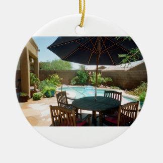 Backyard Pool Christmas Ornament