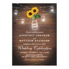 Backyard Rustic Mason Jar Sunflower Lights Wedding Card