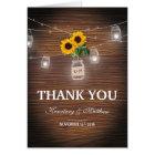 Backyard Rustic Mason Jar Sunflower Thank You Card