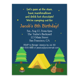 Backyard Sleepover Camping Birthday Party For Boys 11 Cm X 14 Cm Invitation Card