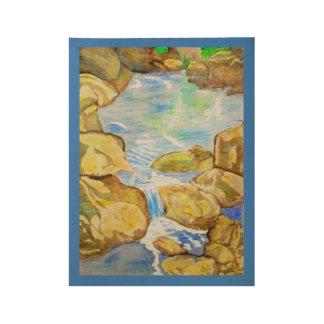 Backyard Stream Watercolor Wood Poster