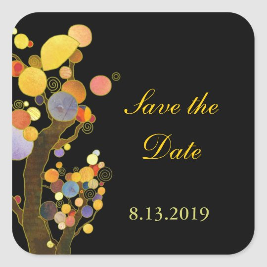 Backyard Wedding Save the Date Square Sticker