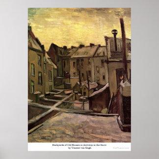 Backyards of Old Houses in Antwerp by van Gogh Print