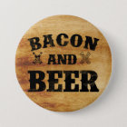 Bacon and beer rustic wood 7.5 cm round badge