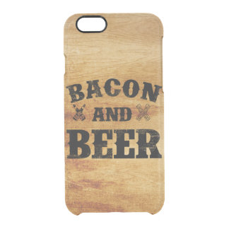 Bacon and beer rustic wood clear iPhone 6/6S case