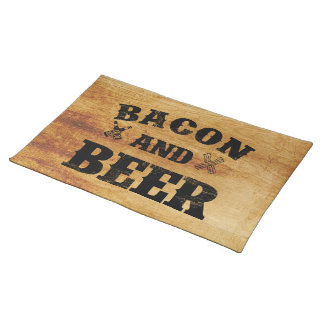Bacon and beer rustic wood place mat